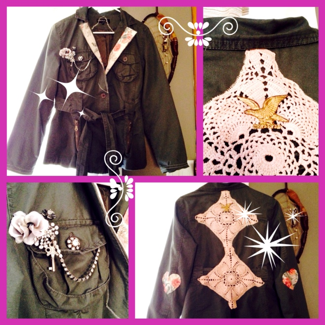 Upcycled vintage doilies, curtains and jewelry as embellishments on a plain jacket.