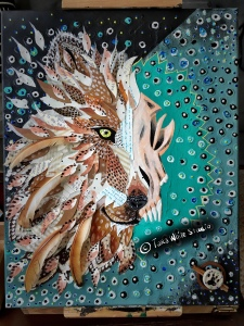 Mixed media wolf painting Tara White Studio